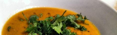 Velouté de tomates et lentilles rouges