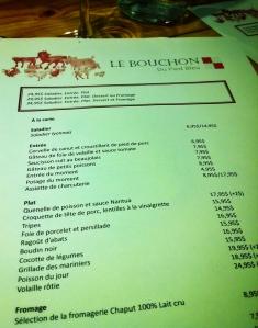 Le Bouchon - menu