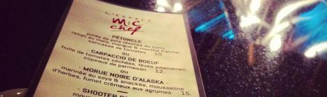 Le menu (qui changera selon l'inspiration)