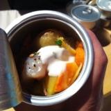 Maquereau laqué au miel de la Miellée Dorée de Cap-Santé, pomme à l'huile - Le Pied Bleu