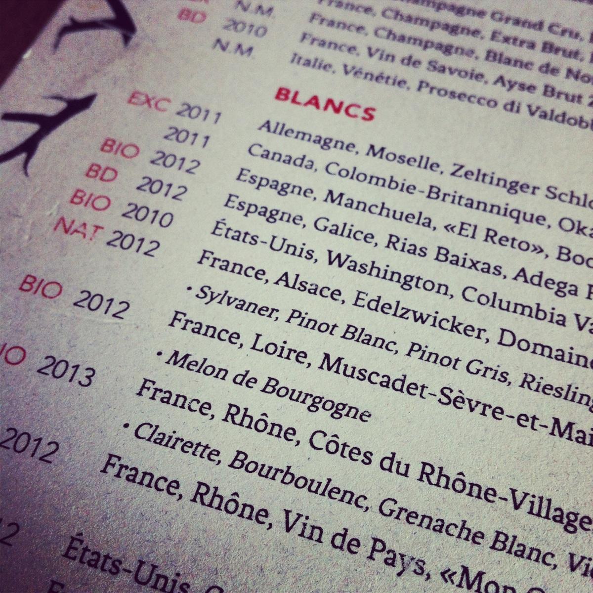 Une carte des vins que je vais prendre plaisir à explorer...