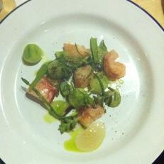 Homard, concombre, herbes marines (salicorne et sabline)
