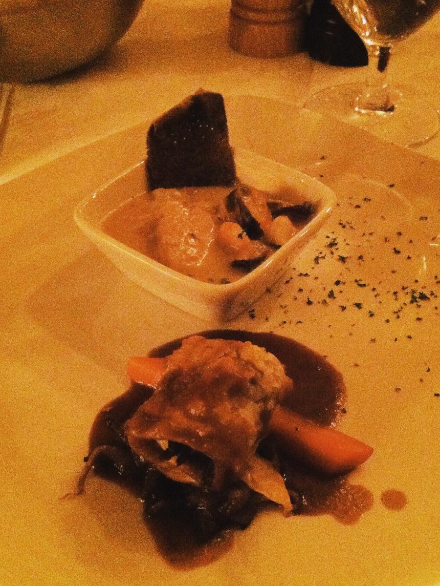 Cassolette à l'esturgeon de M. Lachance et feuilleté de canard confit