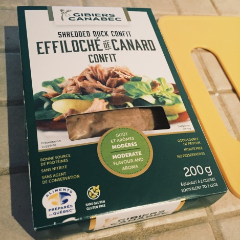 Pour cette recette, j'ai utilisé l'effiloché de canard confit des Gibiers Canabec.